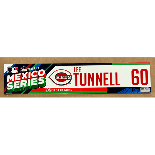Photo of 2019 Mexico Series - Game Used Locker Tag -Lee Tunnell -  Cincinnati Reds