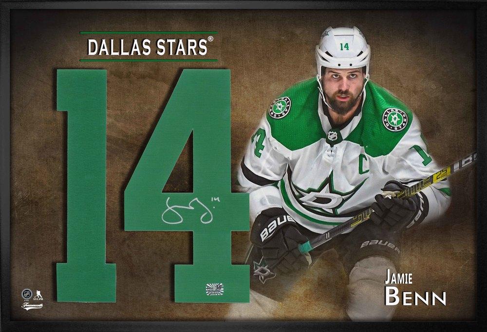 Jamie Benn Signed Jersey Number Framed Print Stars White