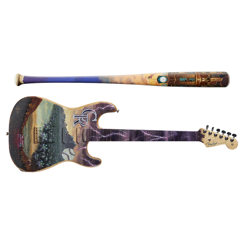 Photo of One-of-a-kind Artist-Painted Rockies Louisville Slugger Bat and Fender Stratocaster Guitar