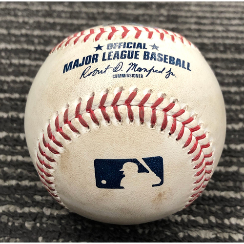 2019 Game Used Baseball used on 8/7 vs. WSH - B-1: Joe Ross to Mike Yastrzemski - Double to LF