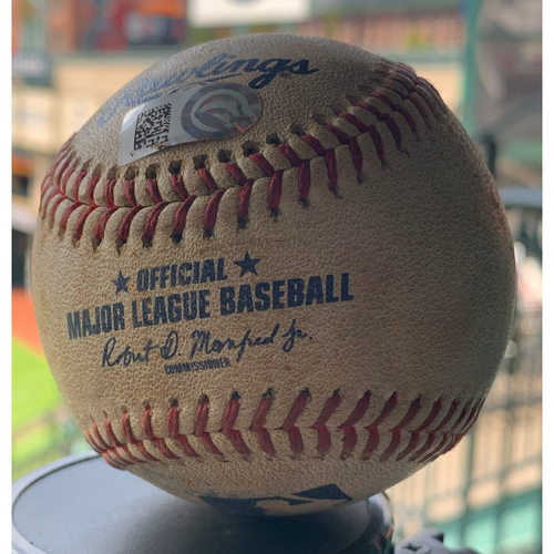 Game-Used Baseball Astros vs. Angels 8-23-19: Luis Garcia to Alex Bregman ( RBI Single) to Yuli Gurriel (Single)