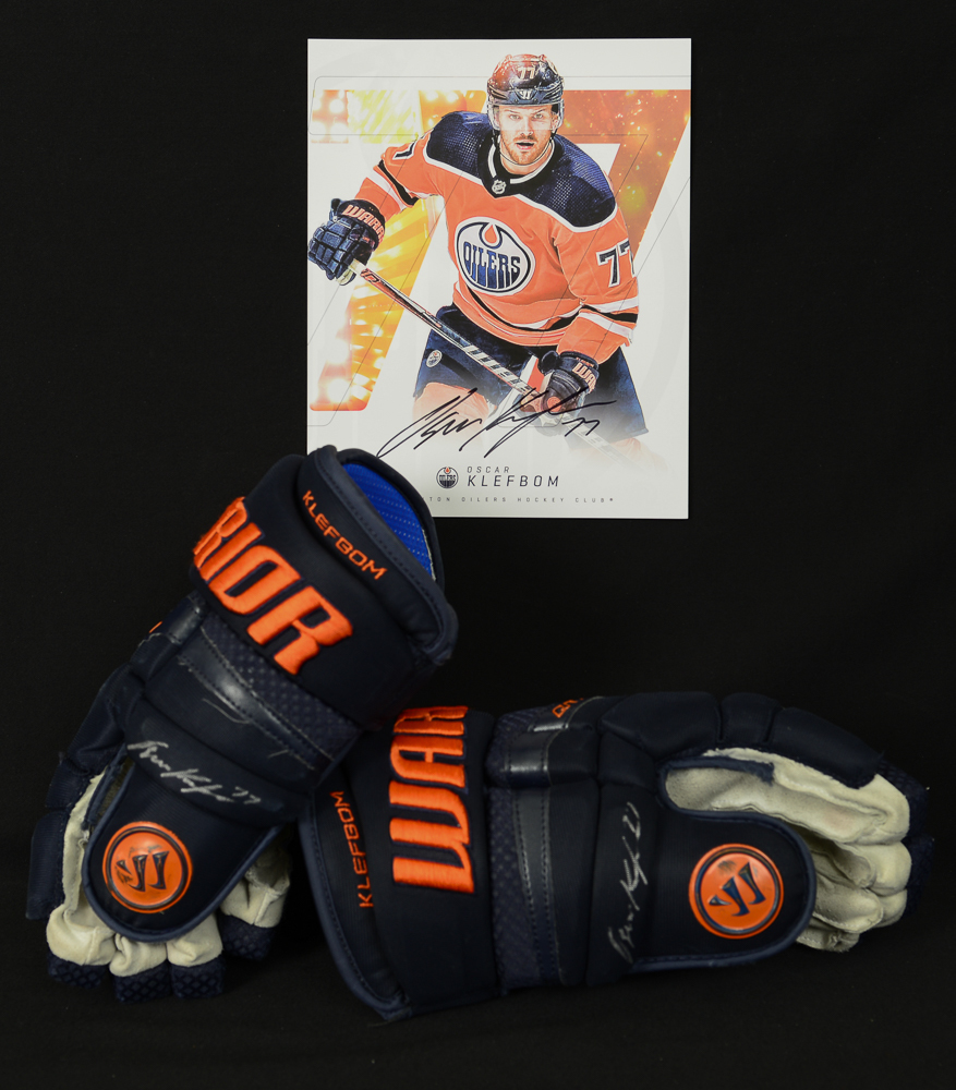 Oscar Klefbom #77 - Autographed 2018-19 Edmonton Oilers Game-Worn Warrior QR1 Pro Hockey Gloves - Includes Autographed Oversized Player Card!