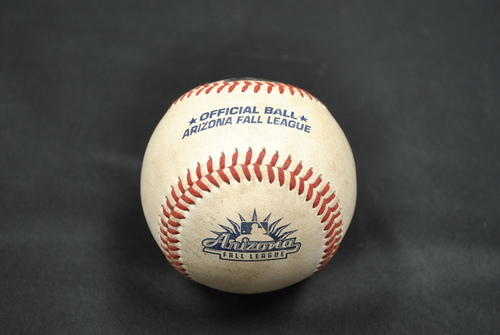 Photo of Game-Used Baseball: 2019 Arizona Fall League - Pitcher: Cory Thompson (CIN), Batters: Andres Gimenez (NYM) - RBI Double - 10/06/2019