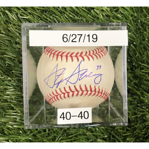 Photo of Win #40: 6/27/2019 Game-Used Baseball - Autographed by Stephen Strasburg