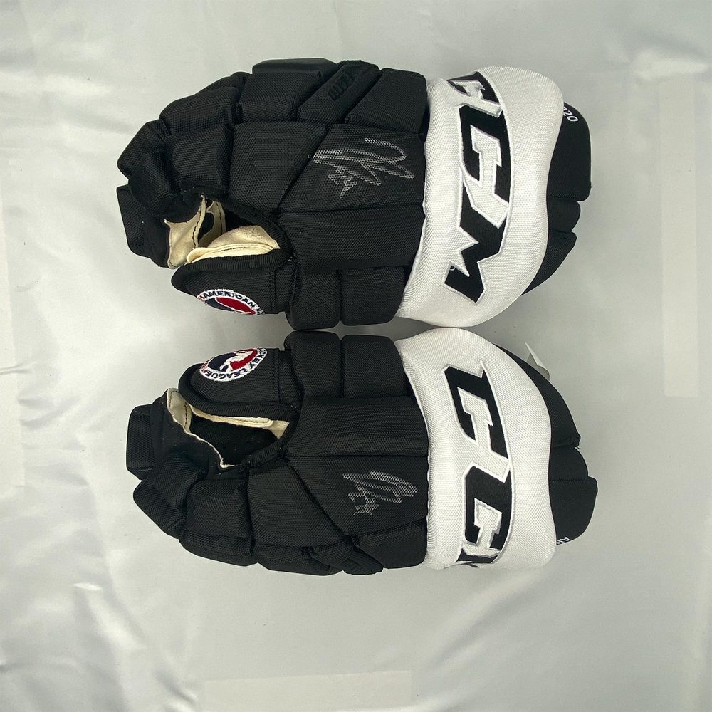 2020 AHL All-Star Classic Gloves Worn and Signed by #24 Jeremy Bracco