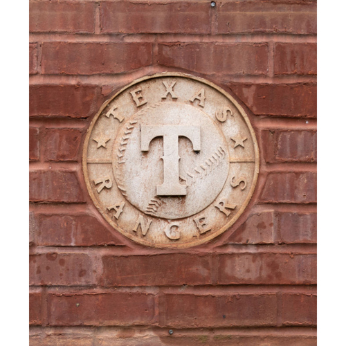 Photo of Cast Concrete Texas Rangers Logo Medallion removed from Infield Wall on 3rd Base Side of Globe Life Park