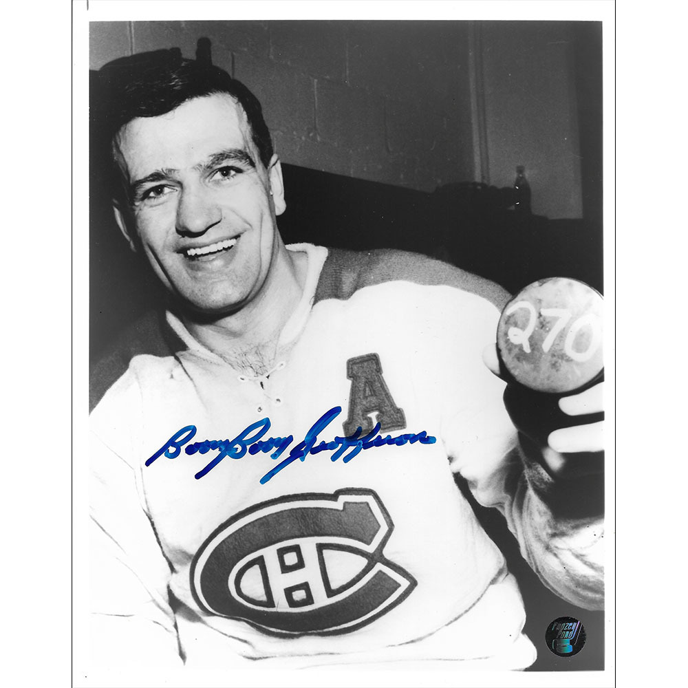 Bernie BOOM BOOM Geoffrion Autographed Montreal Canadiens 8X10 Photo