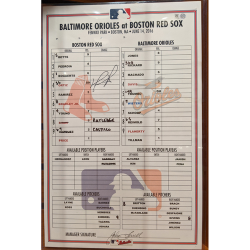 Photo of David Ortiz Autographed Baltimore Orioles vs. Boston Red Sox Game Used Line-Up Card June 14, 2106 - Orioles Win 3-2