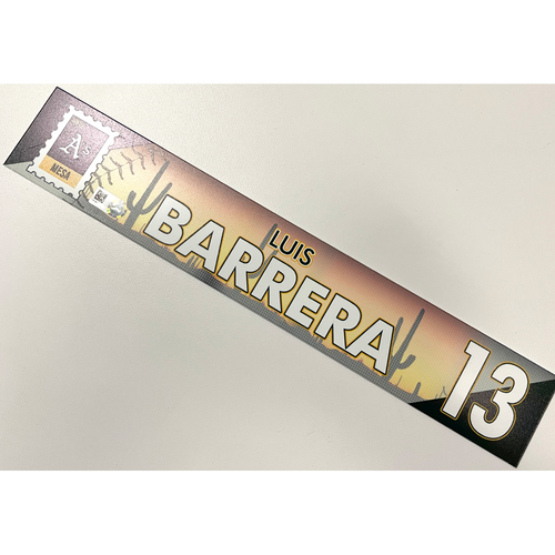 Game-Used 2021 Spring Training Locker Nameplate - Luis Barrera