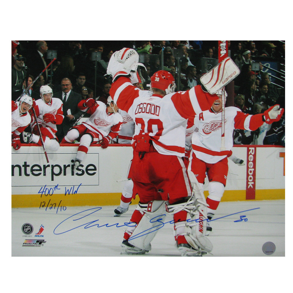 CHRIS OSGOOD Signed and Inscribed Detroit Red Wings