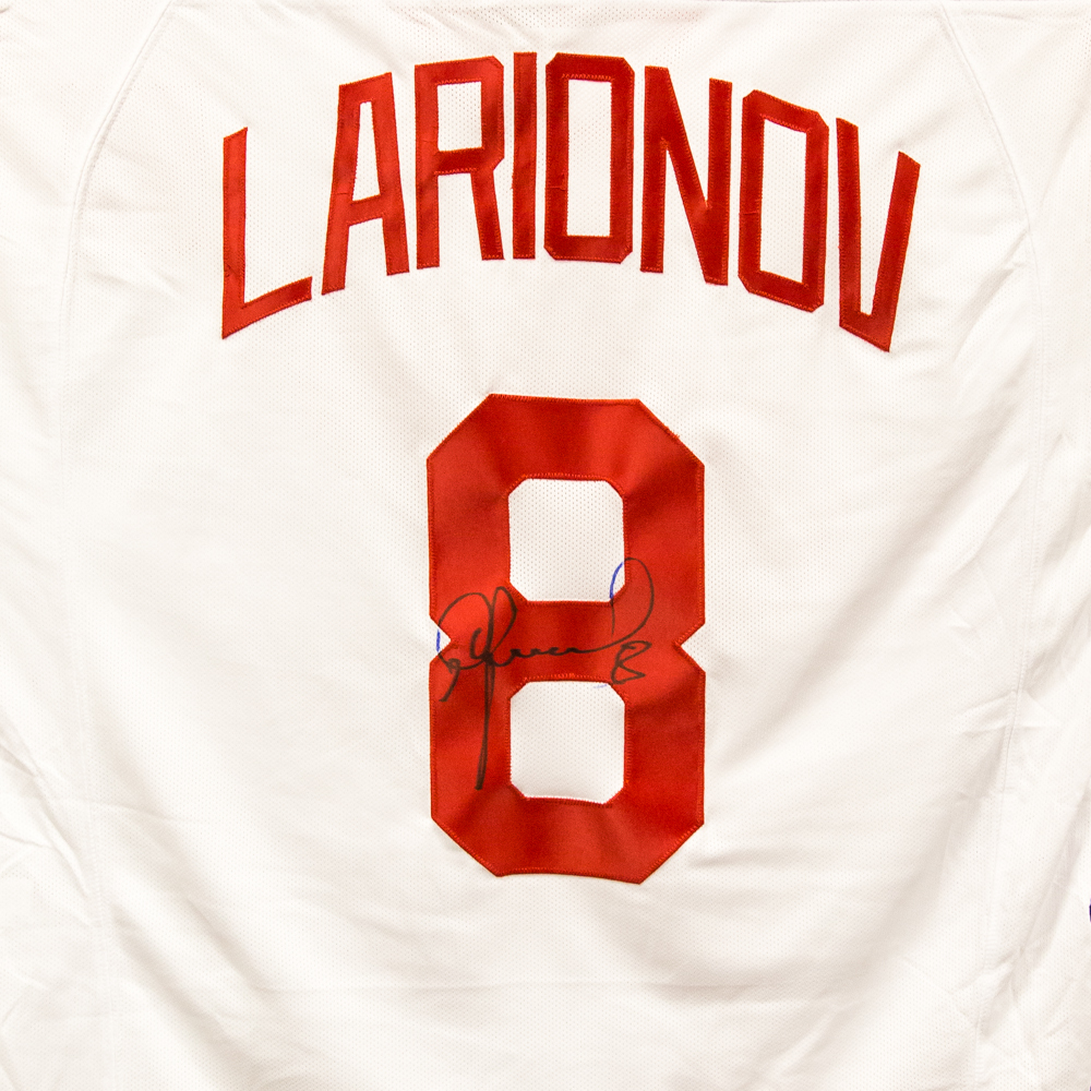 Autographed Igor Larionov Jersey from Nicklas Lidstrom Jersey Retirement Night - Detroit Red Wings