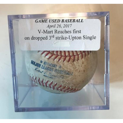 Photo of Game-Used Baseball: Victor Martinez Reaches 1st on Dropped 3rd Strike & Just Upton Single