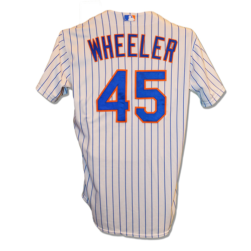 Zack Wheeler #45 - Team Issued White Pinstripe Jersey - 2015 Season