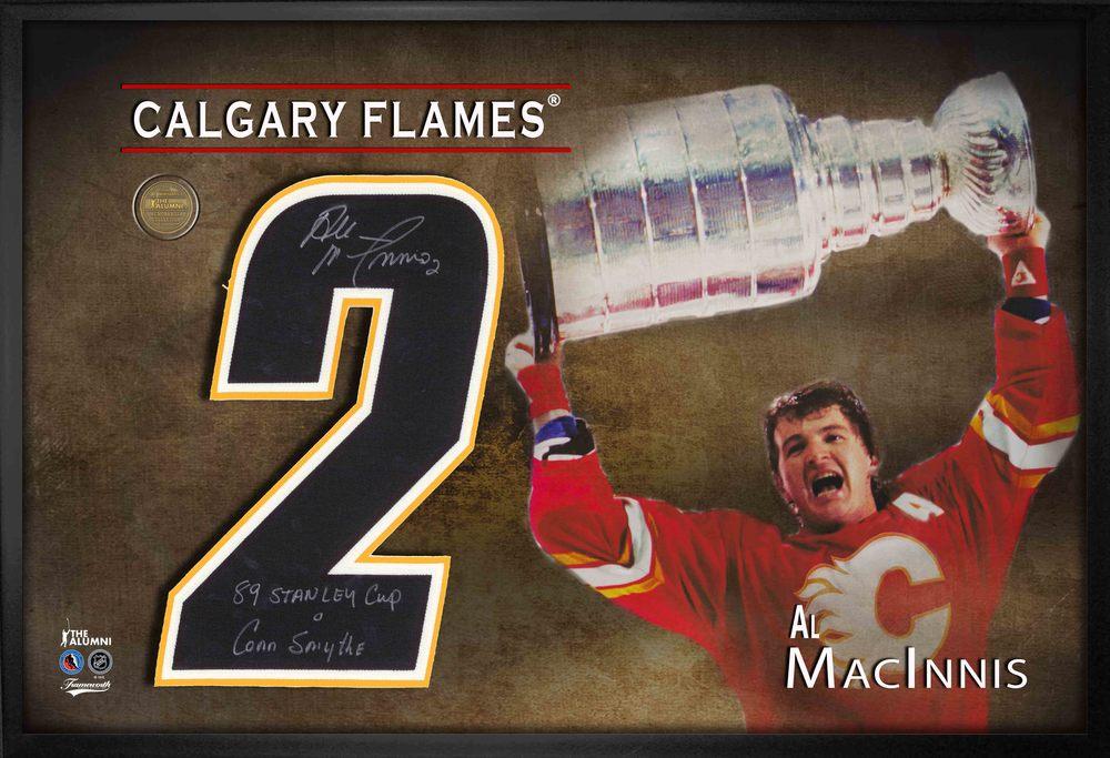 Al MacInnis Signed Jersey Number Framed Print Flames Insc 89 SC Conn Smythe