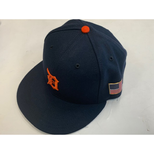 Game-Used Road Cap with American Flag Patch: Anibal Sanchez