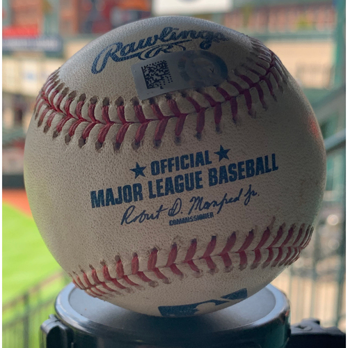 Photo of Game-Used Baseball Astros vs. Angels 7-7-19: Taylor Cole to Josh Reddick (Double) to George Springer (RBI Single)
