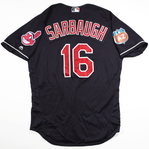 Photo of 2016 Spring Training - Spring Training Game Used Jersey - Sarbaugh (Indians)- Size- 44