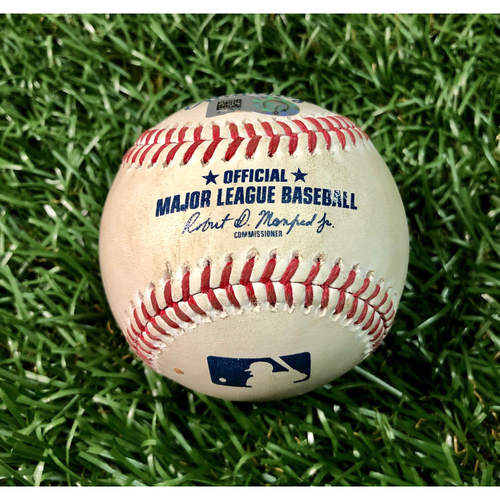 Photo of Game Used Baseball: Giancarlo Stanton single off Tyler Glasnow - First Seven Inning DH at Tropicana Field - Game 1 - August 8, 2020 v NYY