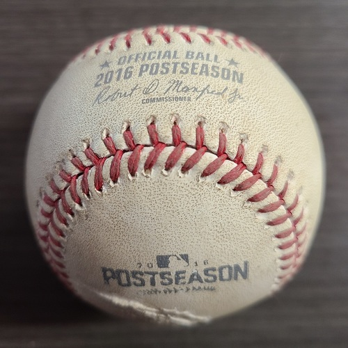 Photo of Authenticated Game Used Postseason Baseball: Foul by Tyler Naquin against Marco Estrada (Oct 19, 2016 vs CLE: ALCS Game 5). Top 4.