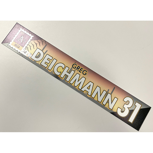 Photo of Game-Used 2021 Spring Training Locker Nameplate - Greg Deichmann