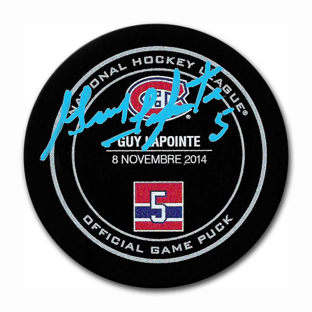 Guy Lapointe Autographed Montreal Canadiens Lapointe Night Official Game Puck