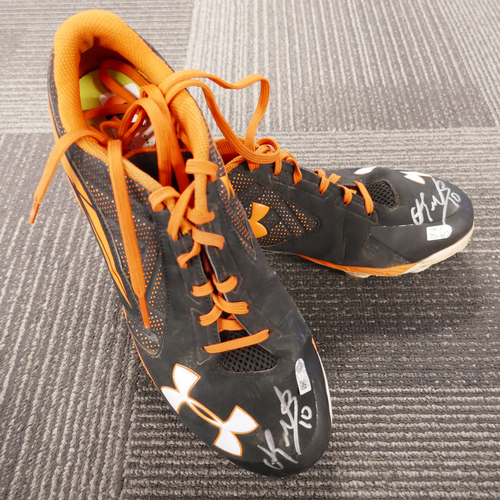 Photo of San Francisco Giants - Player-Collected Autographed Cleats - Eduardo Nunez (pair) - Size 10