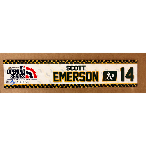 Photo of 2019 Japan Opening Day Series - Game Used Locker Tag - Scott Emerson -  Oakland Athletics