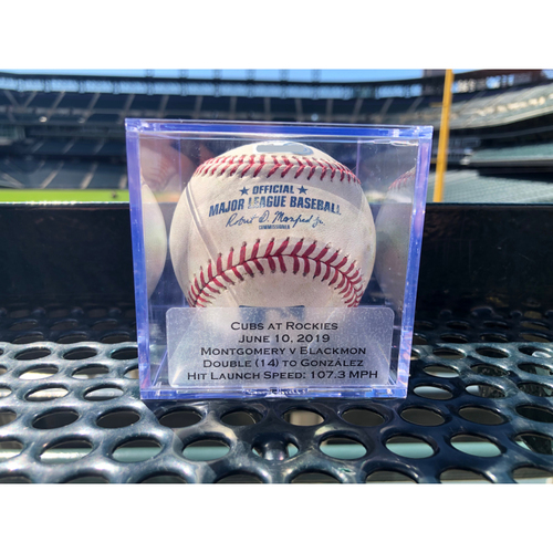 Photo of Colorado Rockies Game-Used Baseball: Pitcher Mike Montgomery, Batter: Charlie Blackmon (Double (14) to Carlos Gonzalez) - June 10, 2019 vs Cubs