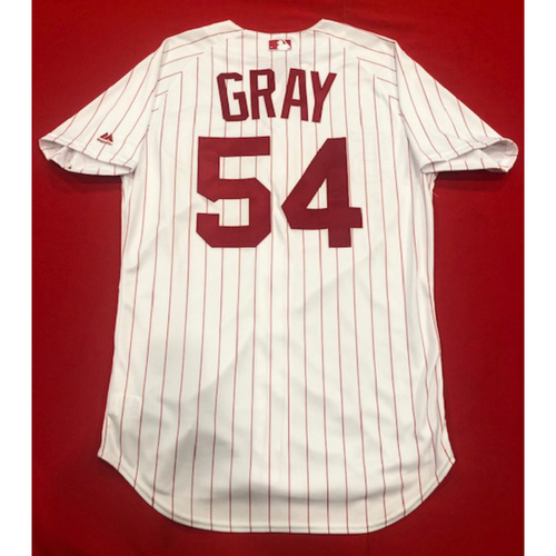 Photo of Sonny Gray -- 1967 Throwback Jersey & Pants -- Game-Used for Rockies vs. Reds on July 28, 2019 -- Jersey Size: 44 / Pants Size: 33-40-20