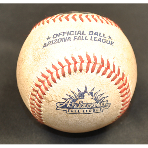 Photo of Game-Used Baseball: 2019 Arizona Fall League - Pitcher: Gerardo Carillo (LAD), Batter: Alec Bohm (PHI) - Single - Bot 3 - 10/6/2019