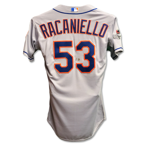 Photo of Dave Racaniello #53 - Game Used Road Grey Jersey - Mets vs. Cubs - NLCS Game 4; Mets Advance to 2015 World Series - 10/21/15