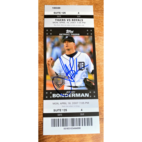 Photo of Jeremy Bonderman Autographed Detroit Tigers 2007 Suite Ticket (NOT MLB AUTHENTICATED)