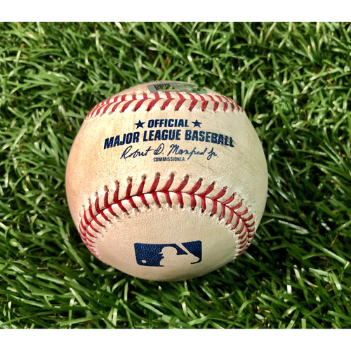 Photo of Game Used Baseball: Gleyber Torres single off Pete Fairbanks - First Seven Inning DH at Tropicana Field - Game 2 - August 8, 2020 v NYY