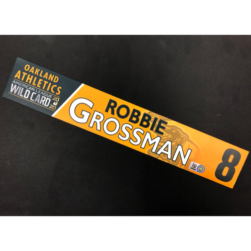 Photo of Game-Used 2020 A.L. Wild Card Locker Nameplate - Robbie Grossman