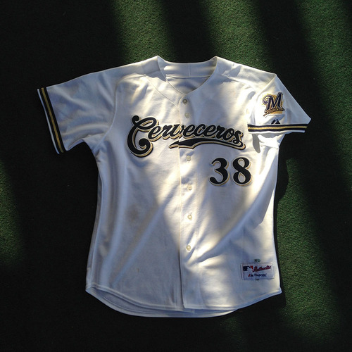 buy popular 38276 c8ca5 MLB Auctions | Wily Peralta Game-Used Cerveceros Jersey from ...