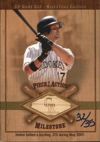 Photo of 2001 SP Game Bat Milestone Piece of Action Milestone Gold #TH Todd Helton