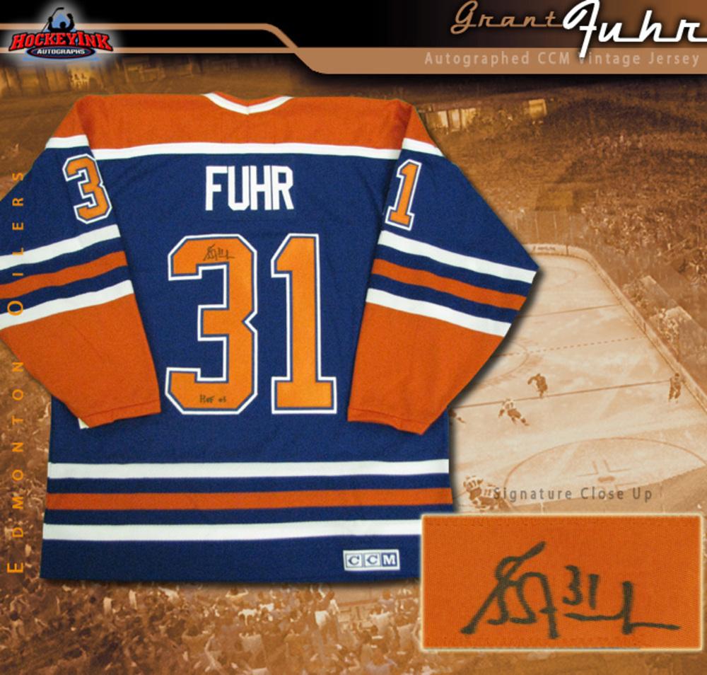 GRANT FUHR Signed Vintage CCM Blue Edmonton Oilers Jersey