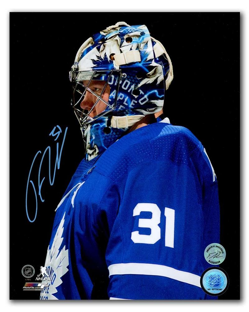 Frederik Andersen Toronto Maple Leafs Autographed Close Up Blackout 8x10 Photo