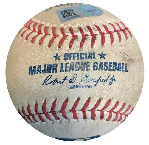 Photo of Game-Used Baseball from Pirates vs. Cardinals on 4/27/18 - Tommy Pham RBI Double