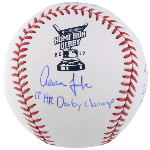 Photo of Aaron Judge New York Yankees Autographed Home Run Derby Baseball with Multiple Inscriptions - Limited Edition of 1