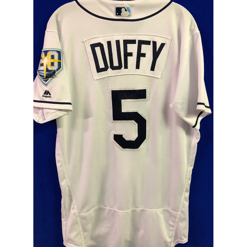Photo of 20th Anniversary Game-Used Home Jersey: Matt Duffy - September 24-28, 2018 v NYY & TOR