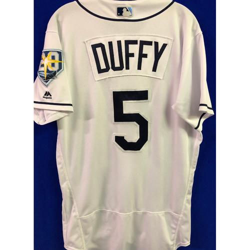 Photo of 20th Anniversary Game-Used Home Jersey: Matt Duffy - September 24-28, 2018 v NYY & TOR