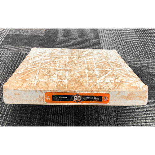 Photo of 2018 Game-Used Base - 1st Base from Innings 1-3 on 9/29 vs. Los Angeles Dodgers