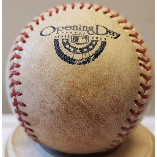 Photo of 2013 Opening Day - Atlanta Braves at Miami Marlins: Game-Used Baseball - Batter: Evan Gattis, Pitcher: Kevin Slowey - Top of 6, Pitch in Dirt - 4/8/13