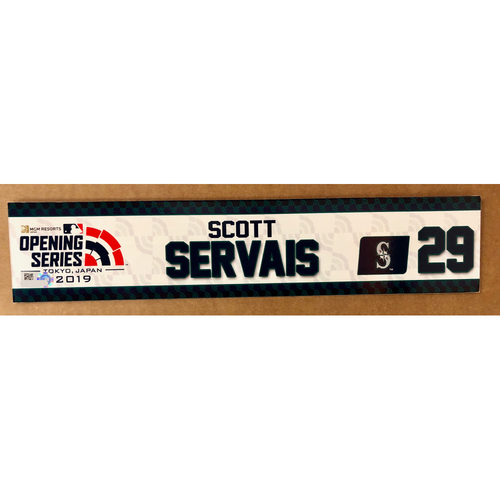 Photo of 2019 Japan Opening Day Series - Game Used Locker Tag - Scott Servais -  Seattle Mariners