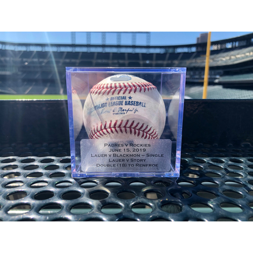 Photo of Colorado Rockies Game-Used Baseball: Pitcher Eric Lauer, Batter: Charlie Blackmon (Single to Josh Nayor)/Trevor Story (Double (18) to Hunter Renfroe) - June 15th, 2019 vs Padres