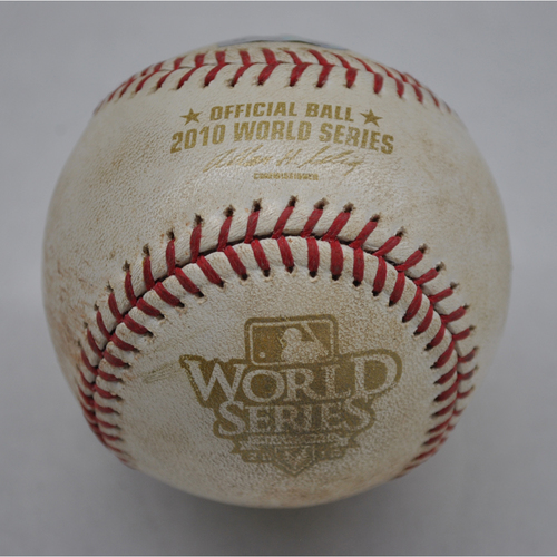 Photo of Game-Used Baseball - 2010 World Series - Texas Rangers at San Francisco Giants - Pitcher - C.J. Wilson, Batter - Pat Burrell - Double - Bottom of 2 - Game 2 - 10/28/2010