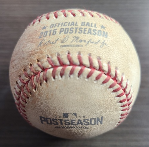 Photo of Authenticated Game Used Postseason Baseball: Single by Michael Saunders against Bryan Shaw (Oct 19, 2016 vs CLE: ALCS Game 5). Bottom 5.