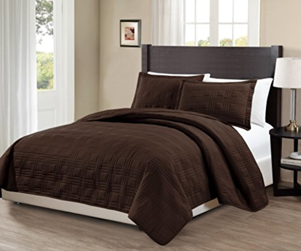 """Photo of Mk Collection 3pc King/California King Modern Geometric Bedspread Bed-cover Quilted Embroidery Solid Coffee/Chocolate Brown Over Size 118"""" x 106"""" New # Geo Coffee/Chocolate Brown"""