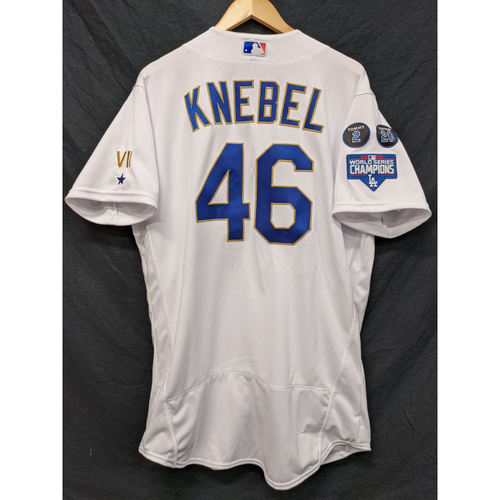 Photo of Corey Knebel Game-Used Gold Trim 2021 Opening Weekend Home Jersey